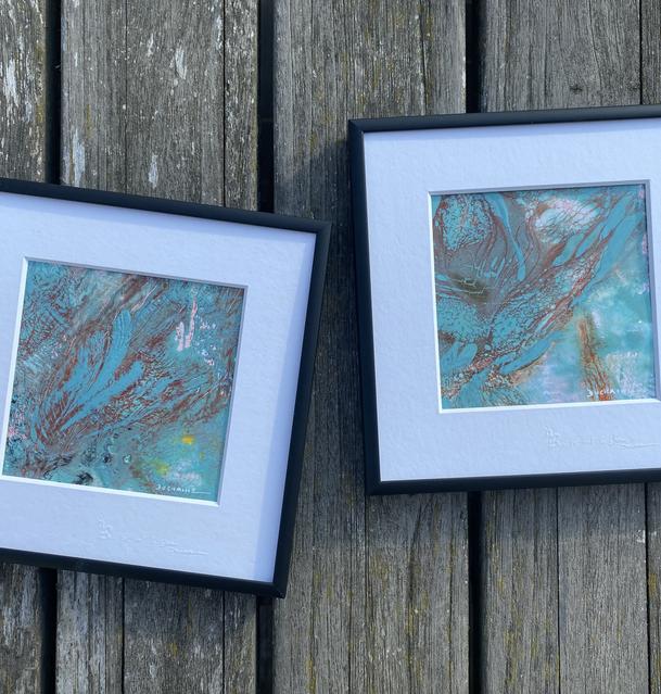 Peintures bucoliques bleu turquoise Sophie Duchaine