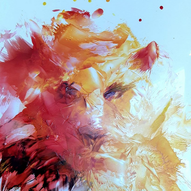 peinture-animal-rouge-orange-jaune-sophi