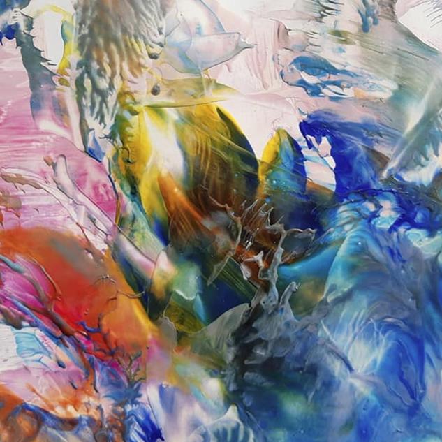 peinture naturelle colorée fleur et mer