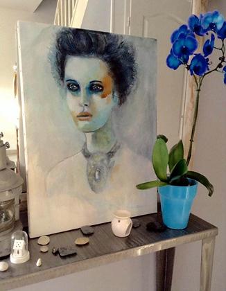 """Peinture Acrylique """"Femme à la parure"""""""