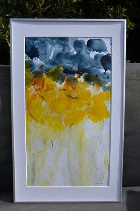 Peinture florale abstraite jaune grise
