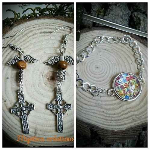 Lot : boucles d'oreilles croix celtiques, bracelet blasons médiévaux