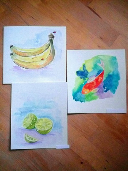 Lot de 3 cartes (Citrons/Bananes/Poissons)