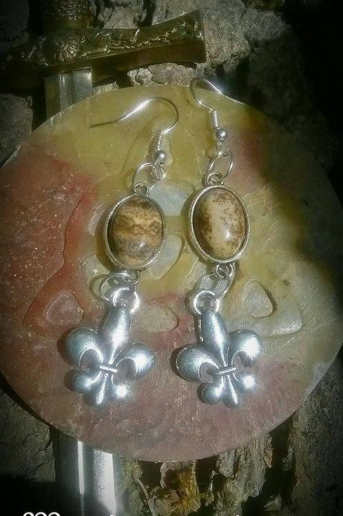 Boucles d'oreilles - Fleurs de lys, pierres jaspe paysage
