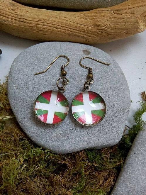 Boucles d'oreilles bronze drapeau basque