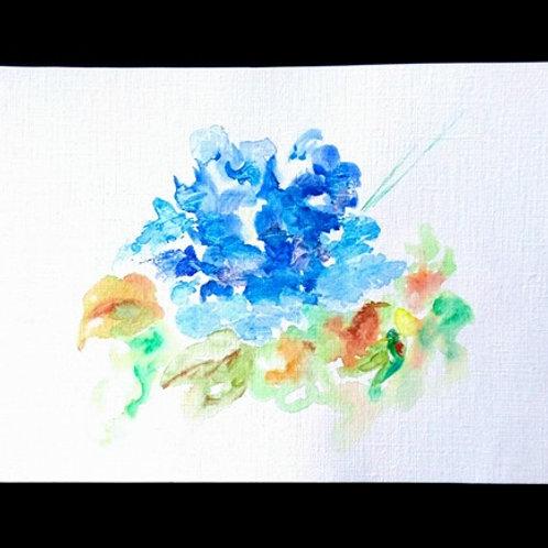 Fleur bleue et orange