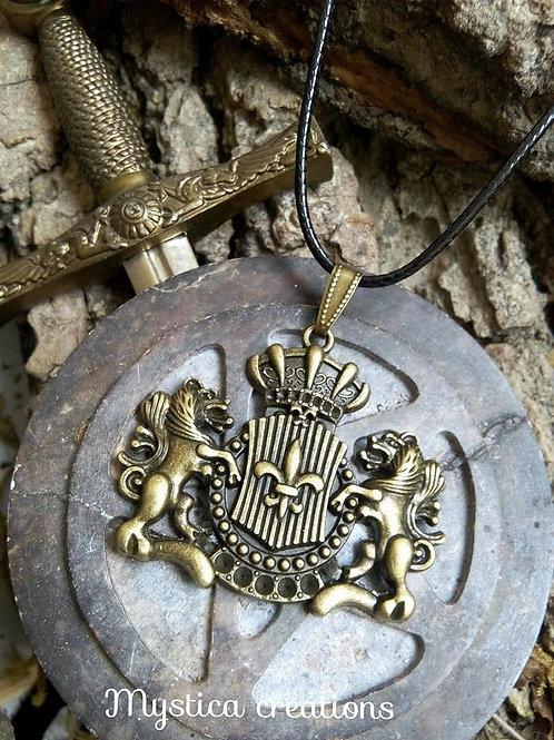 Collier pendentif - Armoiries blason médiéval bronze