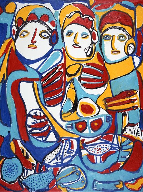 "MOROCCO  Paper A - Chaibi (1929 - 2004)  ""Les Trois Marchands"""