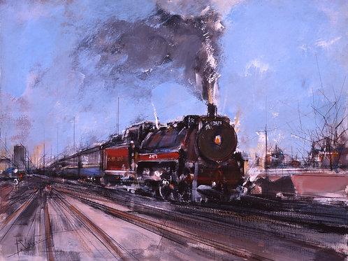 "MONACO Paper A Hubert Clerissi (1923 - 2000)  ""Train Americain"""