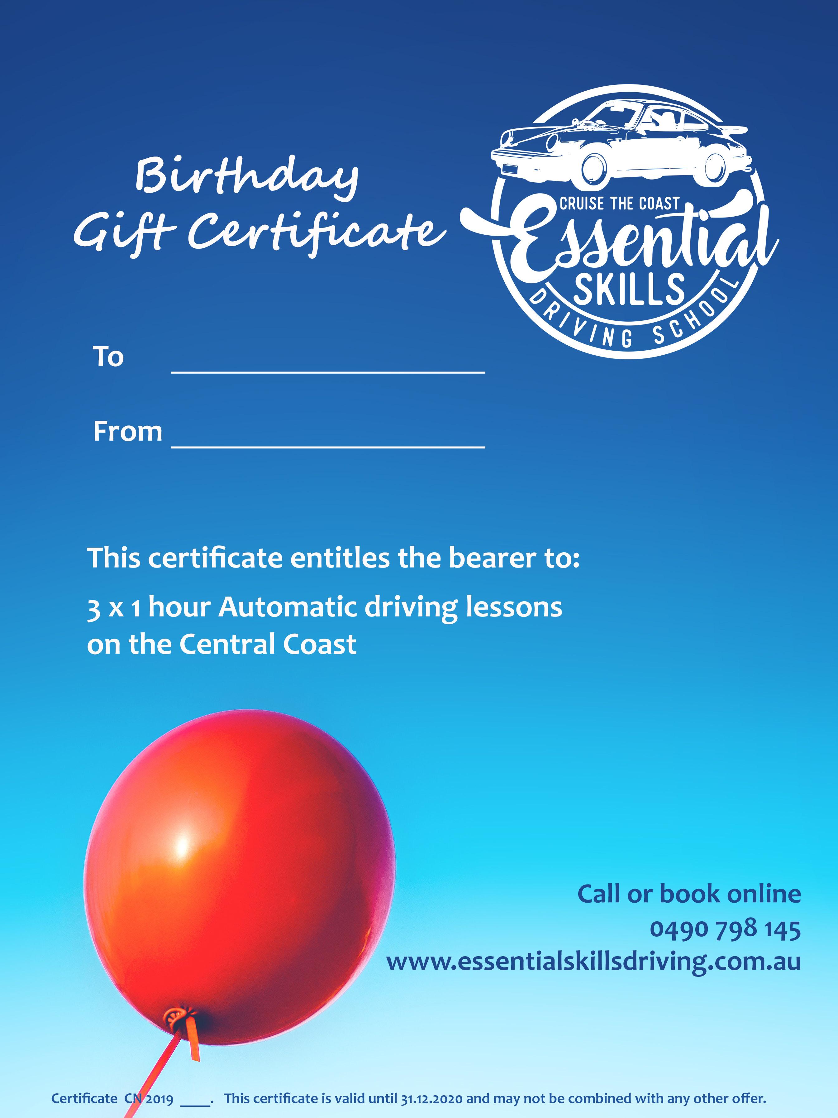 3 x 1hr Auto Birthday Gift Certificate