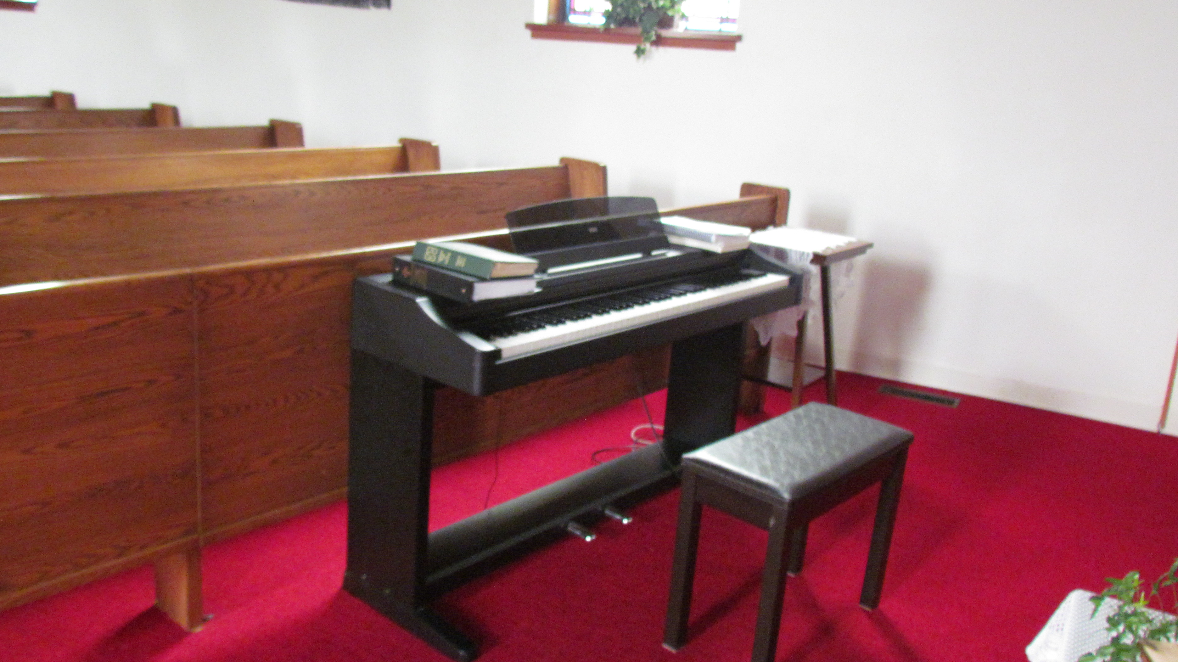 Piano at Front of Church