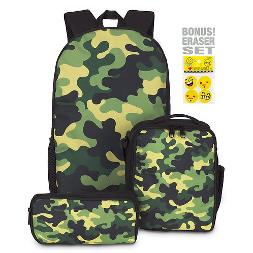 Army Backpack with Insulated Lunch Bag and Pencil Case