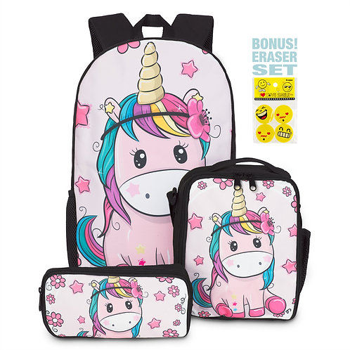 Unicorn Backpack with Insulated Lunch Bag and Pencil Case