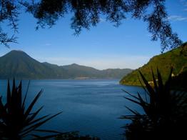 Kayaking across Lago Atitlan