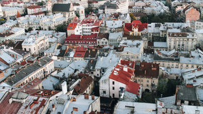 View of the city from a bird's flight, Lviv, Ukraine
