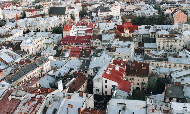 View of the city from a bird's flight, Lviv, Ukraine