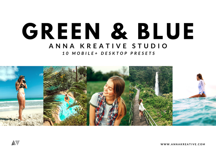 TROPICAL HAWAIIAN FILTERS. Nature Blogger Effects. Green and Blue Lightroom Presets. 10 Mobile & Desktop Lightroom Presets.
