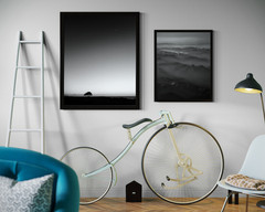 B&W foggy mountains print. Minimalist, modern printable wall art. set of 2 photos. Digital photo print for your home decor.