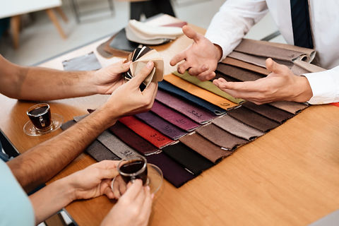 seller-shows-samples-materials-furniture