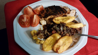 My Creation & Inspired by Spanish Cuisine:  Blackened Chicken, Plantains, Black Beans