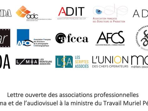 Copie de Lettre ouverte des associations professionnelles du cinéma à la ministre du travail