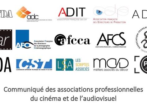 Communiqué des associations professionnelles du cinéma et de l'audiovisuel