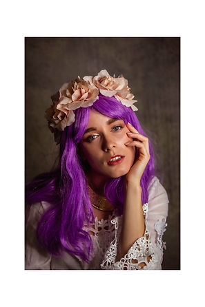 Purple Wig Flower Crown Lace Dress (1).j
