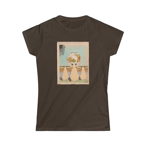 Vintage Book Illustration 3 Siamese Cats & a Fishbowl - Women's Softstyle Tee