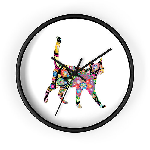 Stained Glass Kitty Wall Clock