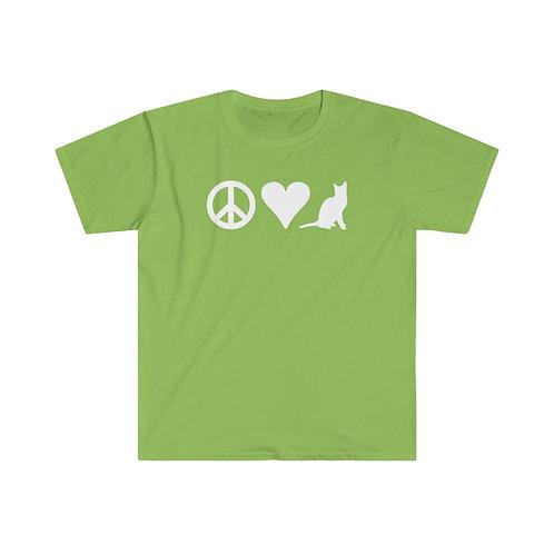 Peace Love Cat - Unisex Softstyle T-Shirt