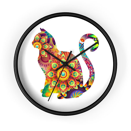 Psychedelic Sunrise Cat Wall Clock