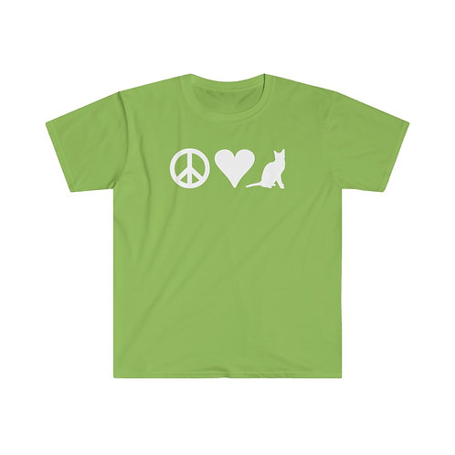Peace Love Cat - Unisex Softstyle T-Shirt