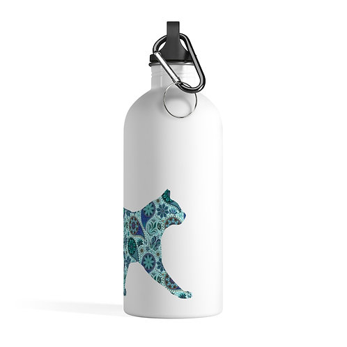 Blue Paisley Cat Stainless Steel Water Bottle
