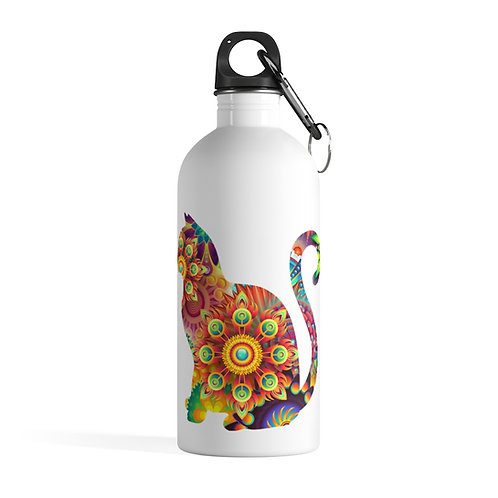 Psychedelic Rainbow Cat Stainless Steel Water Bottle