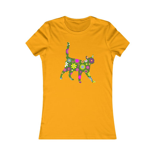 Retro Daisy Cat Silhouette - Women's Favorite Tee