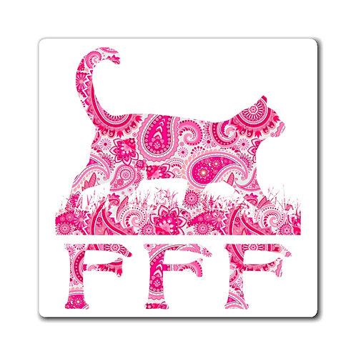 FFF Logo Magnet - Pink Paisley