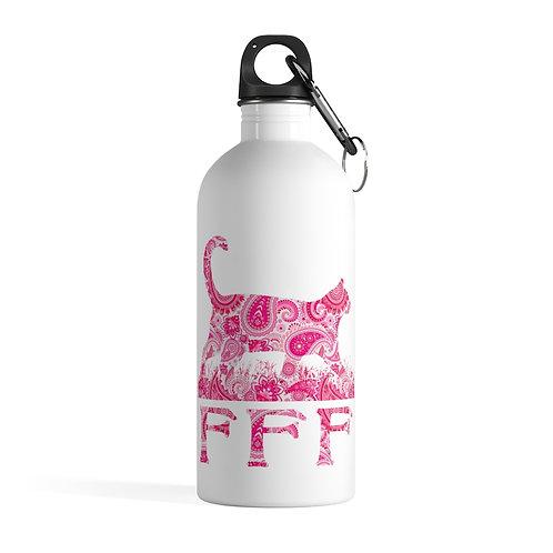 FFF Logo Stainless Steel Water Bottle - Pink Paisley Pattern