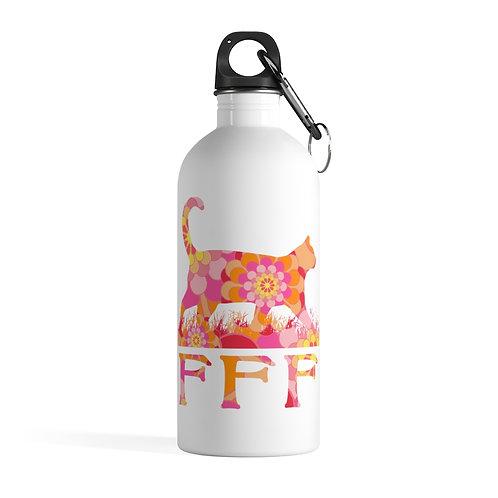 FFF Logo Orange Floral Stainless Steel Water Bottle