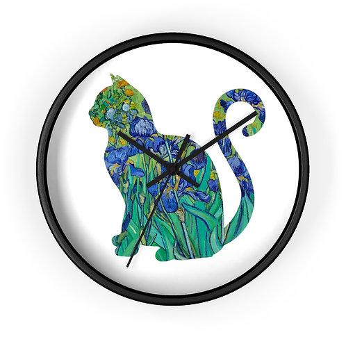 Van Gogh Irises Cat Wall Clock
