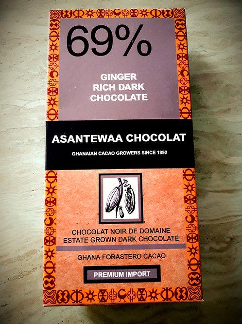 69% GINGER RICH DARK CHOCOLATE  Est 100g