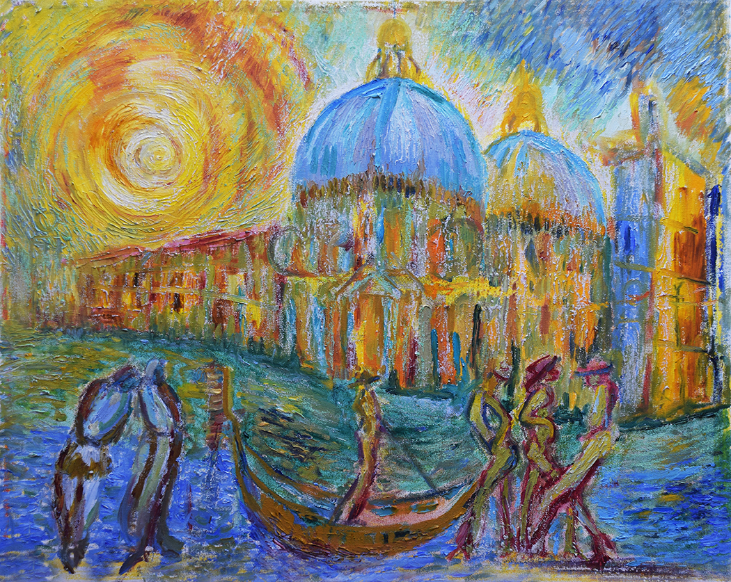 Gondoliers by the Salute Venice