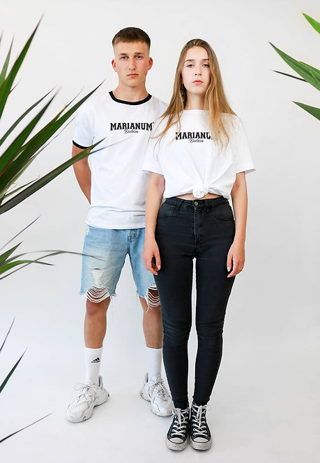 """Marianum® Unisex T-Shirt aus 100% Bio Baumwolle mit""""Marianum"""" Print vorne"""