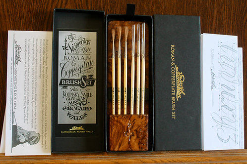 BURR OAK - Roman & Copperplate brush set.