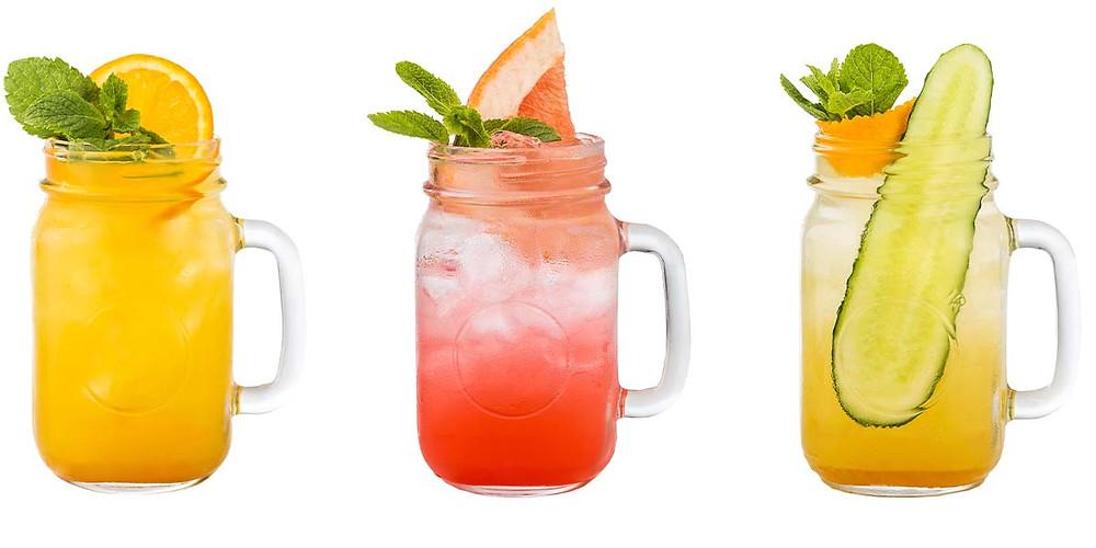 mocktails in jars with handles
