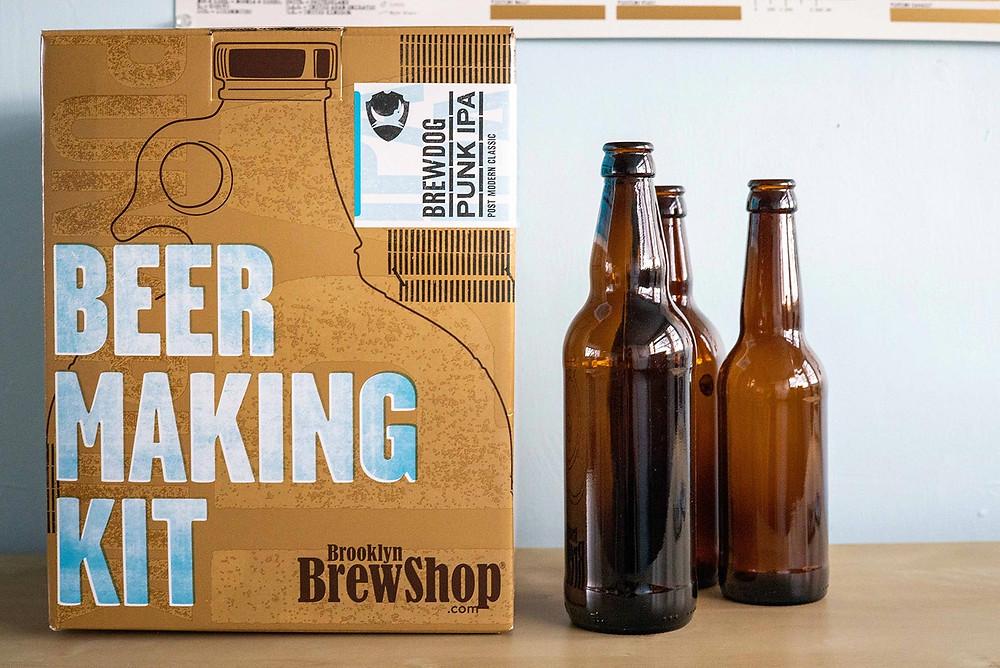 Beer making kit and beer bottles