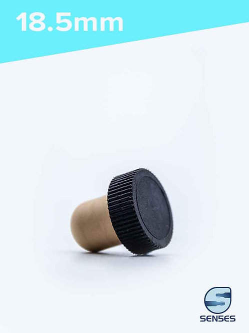 18.5mm Synthetic cork black plastic top side view