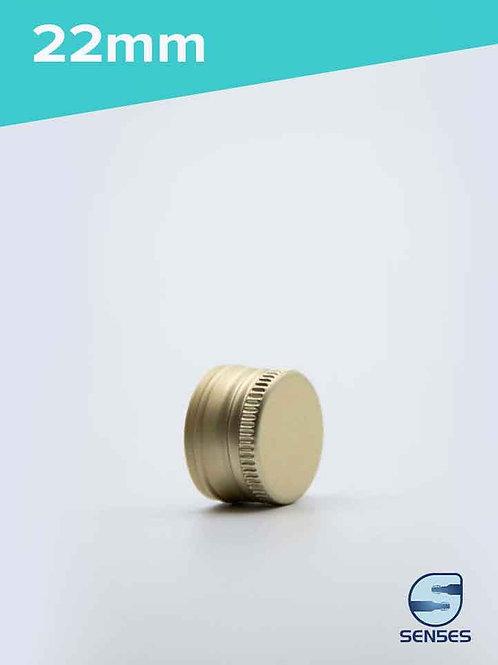 22mm Gold metal screw top cap front