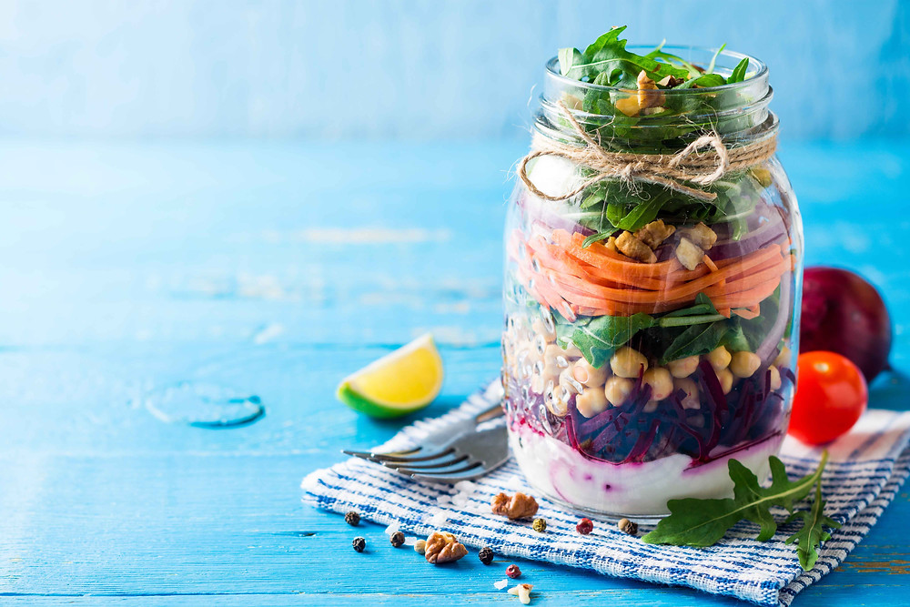 a colourful salad in a jar