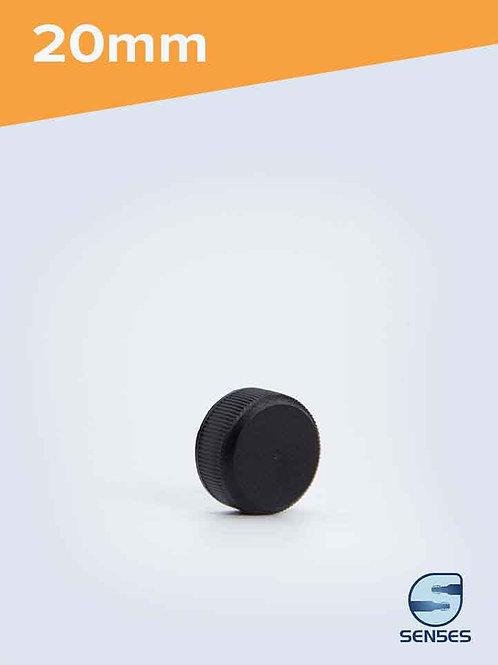 20mm black plastic polycone cap angle view