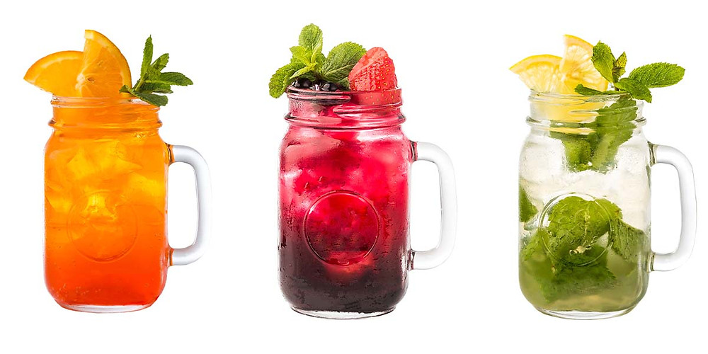 Mocktails in glass jars